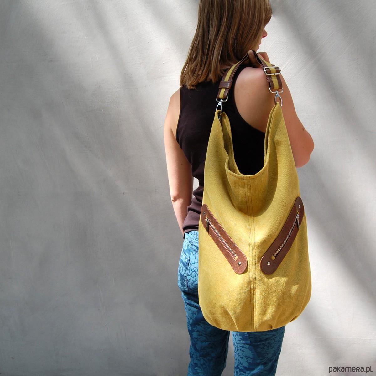 KOFI duża torba worek musztardowa
