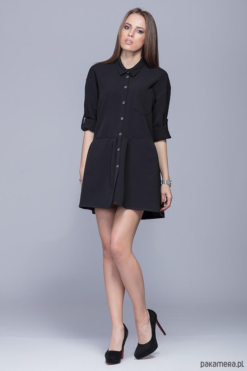 Luźna sukienka z asymetrycznym dołem- czarnyH005