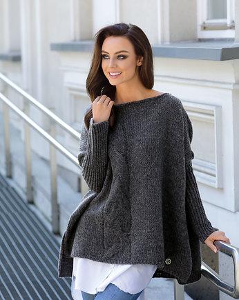 2a7fb23f1e9bed Modny sweter ponczo LS240 - grafit