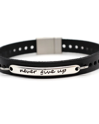 Bransoletka unisex NEVER GIVE UP czarna