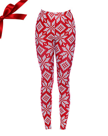 Snowboard, Legginsy SWEATER PRINT IN RED