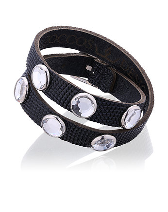 skóra węża, Double Wrap Black Bracelet with Silver Stones