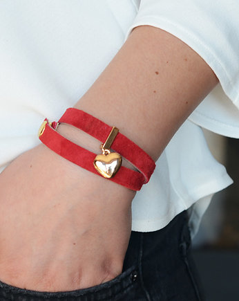red heart suede+ gold