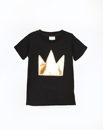 chłopiec - t-shirty, T-shirt GOLD CROWN black