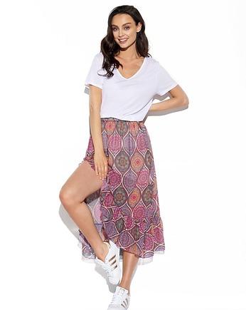 Elegancka długa spódnica całkiem fioletowy plisowana