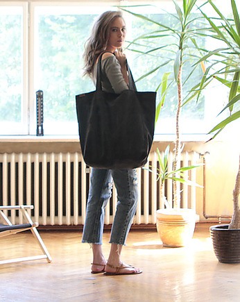 Big Lazy bag torba czarna na zamek / vegan / eco