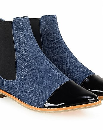 Rita Krzysiek HANDMADE SHOES, Blue Leather Chelsea Boots