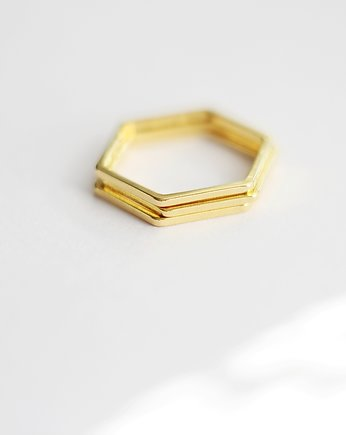 pierścionek, 16k Gold Plated Hexagon Shape Ring