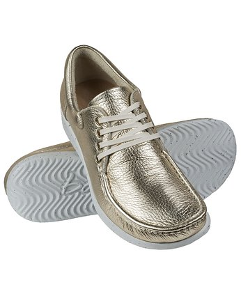 Full-Grain Metalic Gold Moccasin