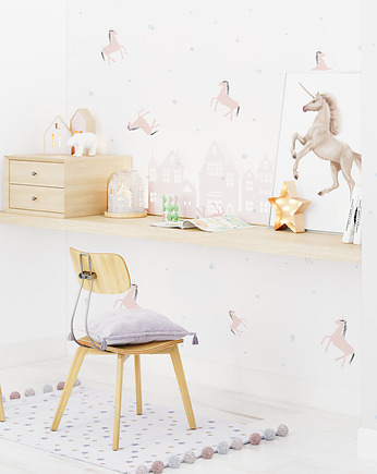humptydumptyroomdecoration, Tapeta dziecięca  Unicorn Dots