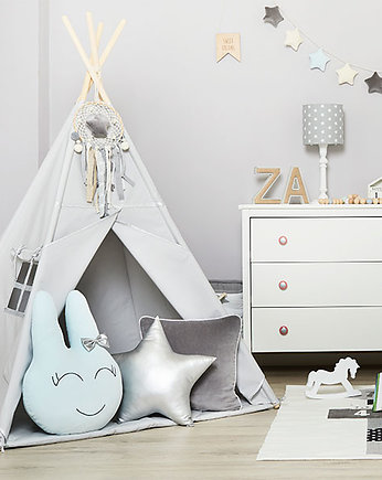 Fun with Mum, Zestaw Tipi Mata Poduszki  - Silver Grey