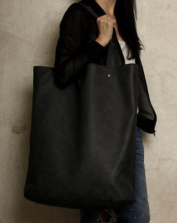 Mega Shopper bag grafit na zamek duża torba