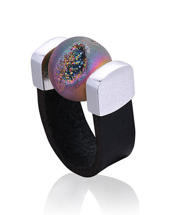 Agate Druzy Rainbow Ring in Silver