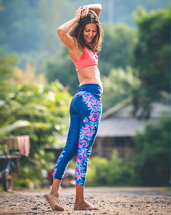 getry, Boho Navy Floral Leggins