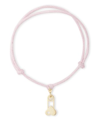 Gold charms with pink cords