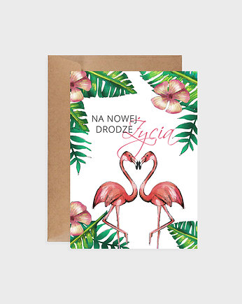 Kartka na ślub, Tropical Flamingos