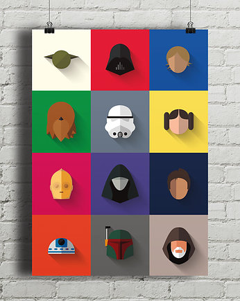gwiezdne, Star Wars - Icon Set - plakat giclee print A4