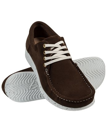 Bara made by Wama Polen, Suede Coffee Moccasin with white adds