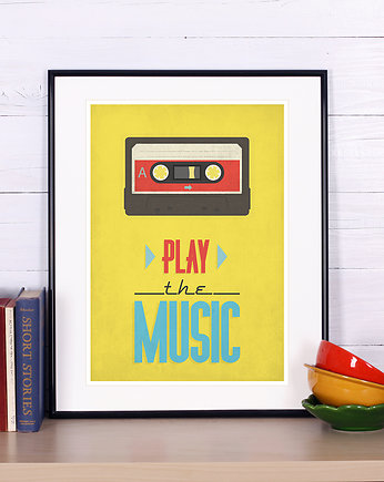 Plakat retro, kaseta, tape, play music,muzyka A4
