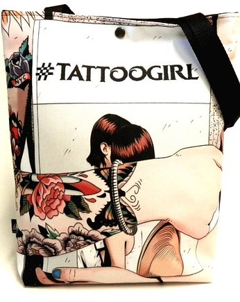 GAUL DESIGNS, Duża torba - tattoo girl