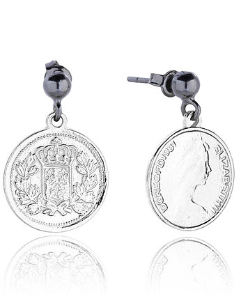 Silver, Royal Coin Earrings in Silver