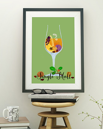 Whiskey Single Malt - plakat art giclee
