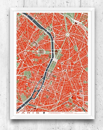 Paris - plan miasta, plakat