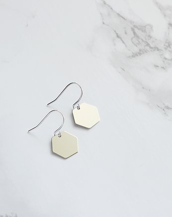 lebohobleu, Small Hexagon Earrings in Silver