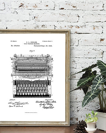 Plakat TYPE WRITING MACHINE  PATENT