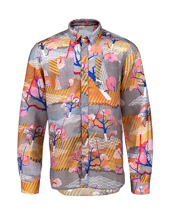 Męska koszula z siatki wraz z tank topem moda koszule
