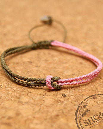 Knot - military , light pink , bransoletki - soutache