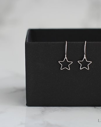 Srebro, Minimalist Star Earrings in Silver