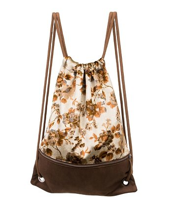 Floral Escape,  backpack brown jungle