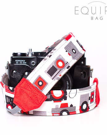aparat fotograficzny, Pasek do aparatu Camera Strap Retro Camera Red