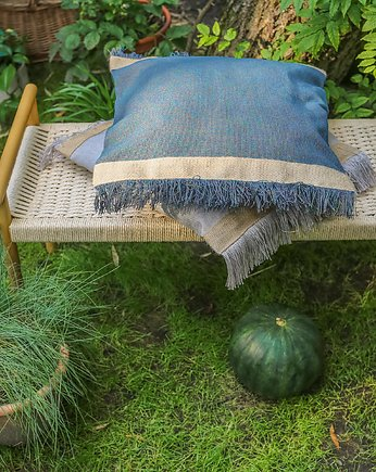 Zero Waste, fringe pillow -  blue