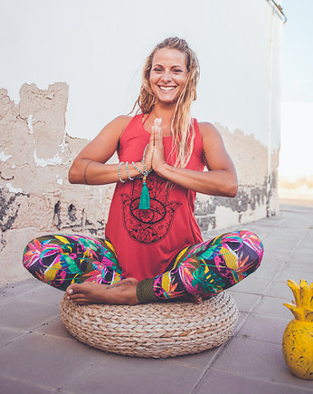 Wakacje: Yoga camp, Boho Jungle Monstera Leggings S/M