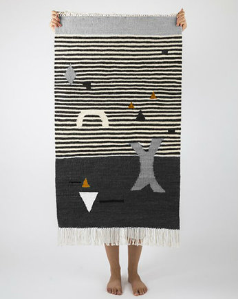 Tartaruga studio, SHAPES ON STRIPES gray | kilim 50x80