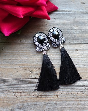 Mrosoutache, Gray and black- kolczyki soutache