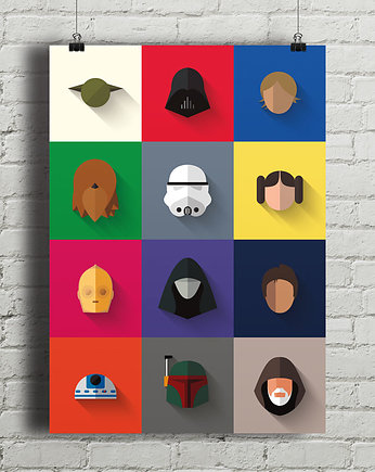 gwiezdne, Star Wars - Icon Set - plakat giclee print