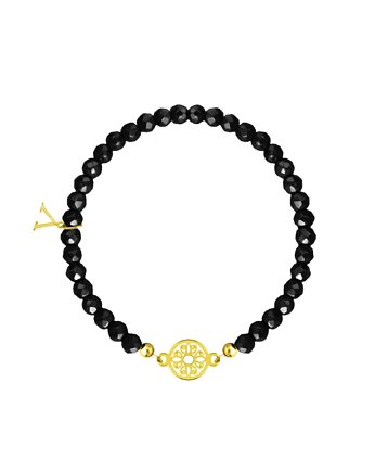 Black Gold Pattern Circle - Bransoletka