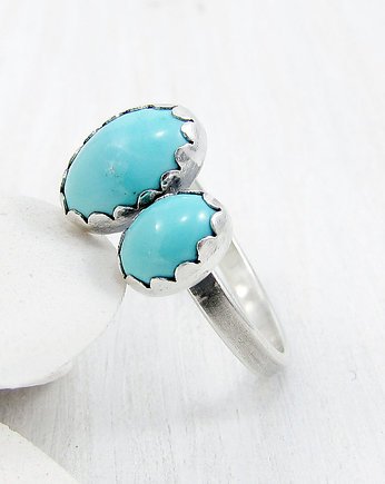 Amade Studio, Twins ring - double turquoise