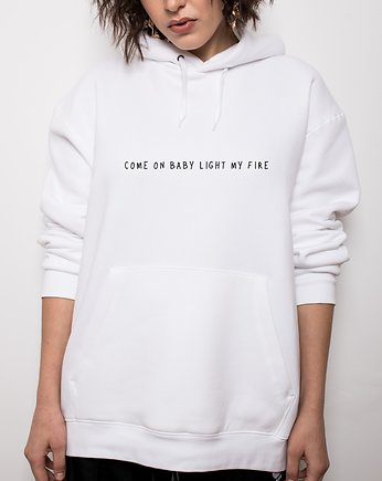 street, 'COME ON BABY' WHITE HOODIe
