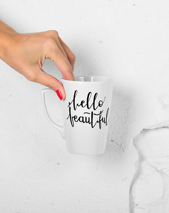 handlettering, Kubek smukły 240ml *HELLO BEAUTIFUL*