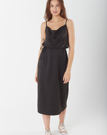 NEATNESS, SUKIENKA SATIN MIDI BASIC N1 BLACK