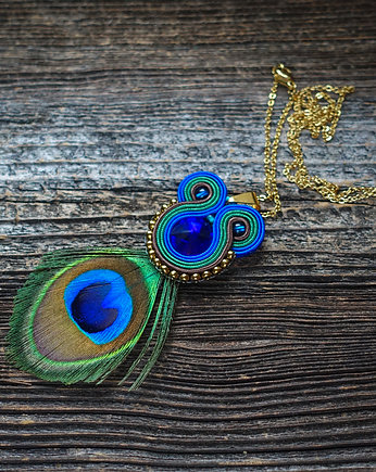 Peacock eye- wisior soutache z piórami