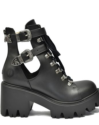black, ALTERCORE botki na platformie Sadie Vegan Black