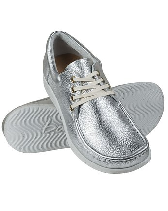 Full-Grain Metalic Silver Moccasin