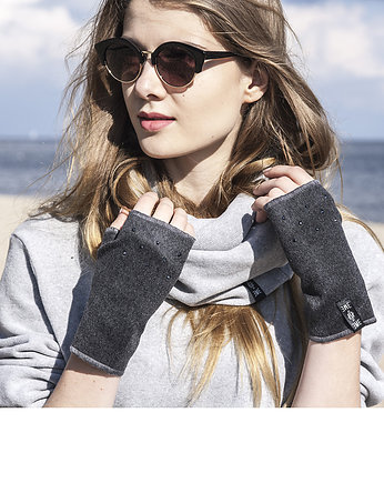 dark gray cashmere/crystal gloves