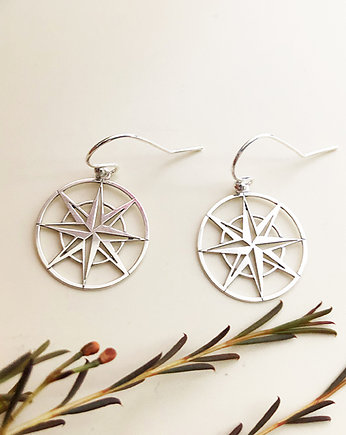 Kolczyki kompass, gold compass earrings