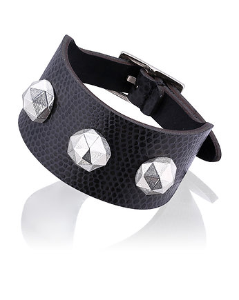 Joccos Design, Geometric Octagon Dark Grey Bracelet in Silver